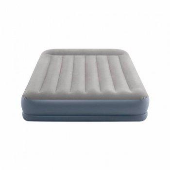 Надувне ліжко з вбудованим електронасосом і подушками Intex 64118-1 Pillow Rest Mid-Rise Airbed двоспальне (152х203х30) сіра (it-64118-1)