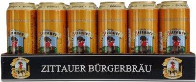 Упаковка пива Zittauer Burgerbrau Hefeweizen 1845 светлое нефильтрованное 5.1% 0.5 х 24 шт.(4015576055015G)