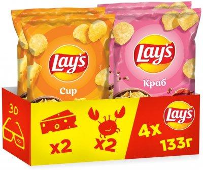 Упаковка-мікс чипсів Lay's 2 смаки 133 г х 4 шт. (4823063120739)