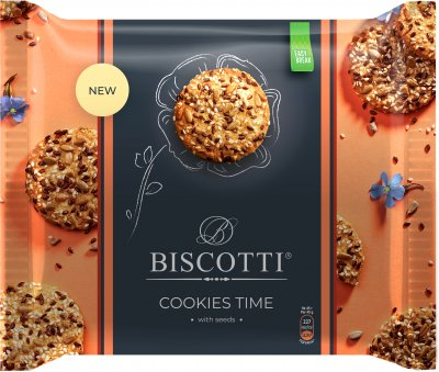 Упаковка печенья BISCOTTI Cookies Time с семенами 180 г х 12 шт (4820216120110)