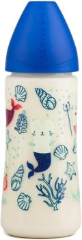 Бутылочка для кормления Suavinex Морские истории анатомическая соска, быстрый поток Синяя 360 мл (304002) (8426420043335)