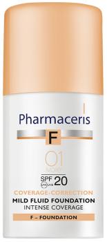 Нежный тональный флюид Pharmaceris F SPF20 интенсивно маскирующий Слоновая кость 30 мл (5900717153011)
