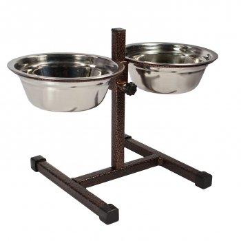 Миски на підставці для собак ПЕСиК 3 л 2 шт (метал.) H 50 см (0877)