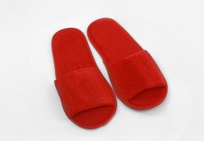 Велюровые тапочки Hotelbrand для офиса и дома красные открытый носок в индивидуальной упаковке (длина по стельке 29 см) упаковка 10 пар