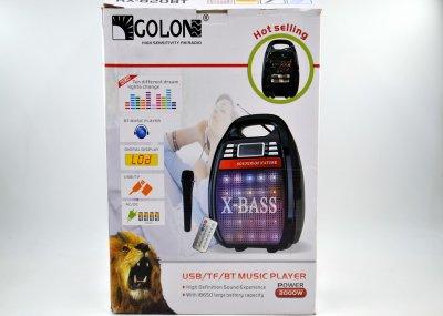 Акустична колонка Golon RX-820 з функцією Bluetooth і підсилювач з мікрофоном і пультом ДУ Чорна (10113)