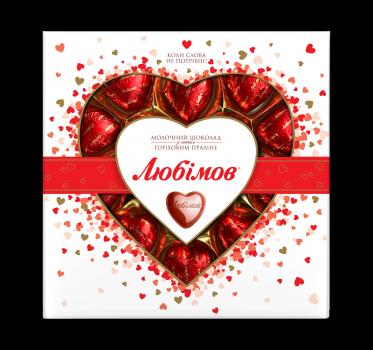 Упаковка цукерок Любимов Сердечка в молочному шоколаді 125 г х 14 шт. (4820005195152)