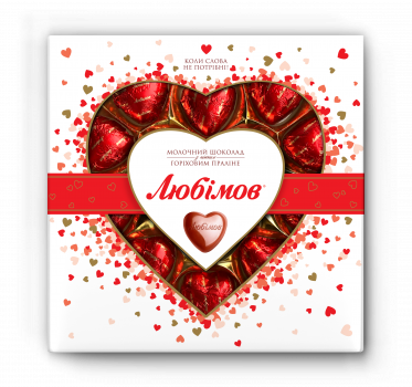 Упаковка конфет Любимов Сердечки в молочном шоколаде 125 г х 14 шт (4820005195152)