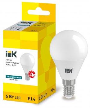 Лампа LED ALFA G45 куля 6Вт 230В 4000К E14 IEK (LLA-G45-6-230-40-E14)