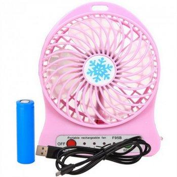 Переносний портативний вентилятор Ручний і Настільний UTM Рожевий