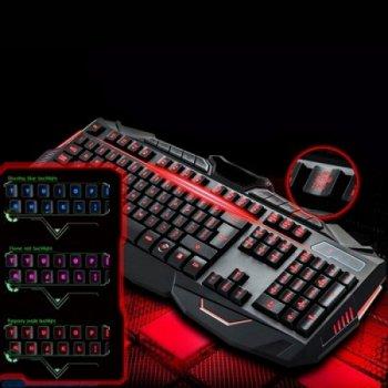 Игровая клавиатура с мышкой и LED подсветкой V100 проводная светится в темноте (47494im)