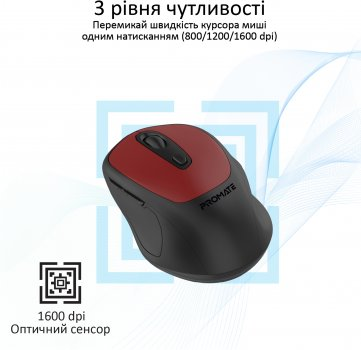 Мышь Promate Clix-9 Wireless Red (clix-9.red)