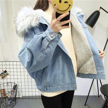 Жіноча джинсова коротка утеплена куртка Simplee із сірим хутром