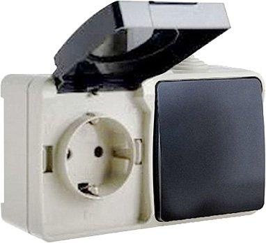 Выключатель одноклавишный ElectrO и розетка с заземлением ВС20-1РК1В УФ-защита IP54 (VS201RK1V1654)