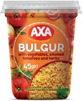 Упаковка каші булгур AXA з овочами, копченими томатами та зеленню 45 г х 8 шт. (4820008129901)