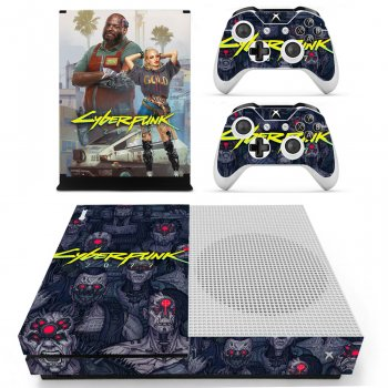 Вінілові наклейки на Xbox One S і Gamepad Cyberpunk 2077 Custom Skin Playsole Vinyls (PV5004)