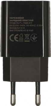 Сетевое зарядное устройство Florence 1USB 2A + Type-C Cable Black (FL-1020-KT)