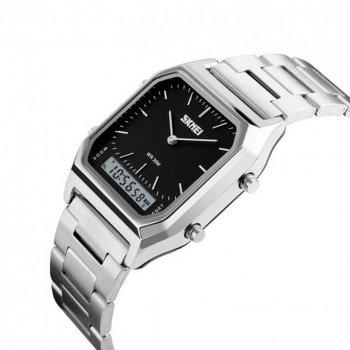 Чоловічий годинник Skmei 1220BOXSIBK Silver Black BOX