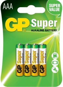 Щелочные батарейки GP Super Alkaline AAA 1.5V 24A-U4 LR03 4 шт (4891199000058)