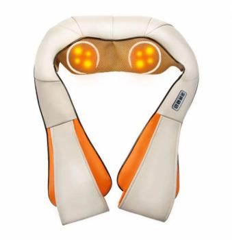 Массажёр роликовый Shiatsu Massager of Neck Kneading для всего тела с подогревом 4 кнопки Бежевый (11150)