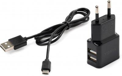 Зарядное устройство Vinga 2 Port USB Wall Charger 2.1A + microUSB cable (VCPWCH2USB2ACMBK)