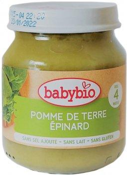Упаковка дитячого пюре Babybio Органічного з картоплі та шпинату з 4 місяців 130 г х 2 шт. (3288137510457_3288131510453)