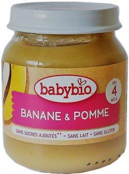 Упаковка дитячого пюре Babybio Органічного з яблука та банана з 4 місяців 130 г х 2 шт. (3288131510774)