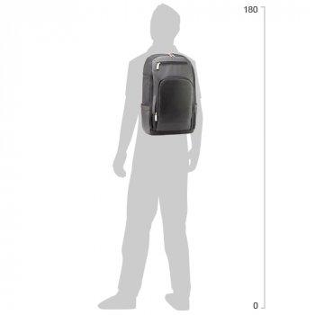 """Рюкзак діловий Optima 18"""" Techno чоловічий 0.7 кг 26-35 л Чорний з виділеними елементами (O96916-01)"""