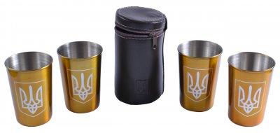 "Рюмки в кожаном чехле ""Украина"" (Золото, 4 шт) PQ-09 Б"