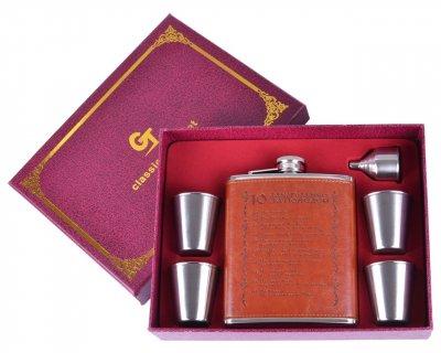 Подарочный набор с флягой 6в1 Алкогольные заповеди Гранд Презент GT-906