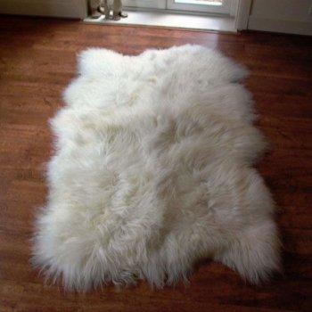 Килим Легит з 4-х шкур ісландської овчини 2,1 х 1,1 білий (КО0024)