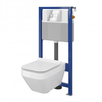 Инсталляция CERSANIT Aqua 52 QF Set B210 + унитаз Crea CleanON с сиденьем Slim Soft Close + панель смыва Accento Square хром глянцевый