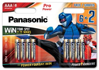 Батарейки Panasonic Pro Power щелочные AAA блистер, 8 шт Power Rangers (LR03XEG/8B2FPR)