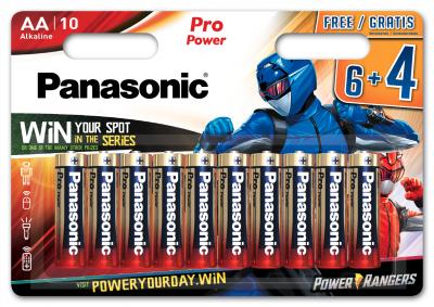 Батарейки Panasonic Pro Power щелочные AA блистер, 10 шт Power Rangers (LR6XEG/10B4FPR)