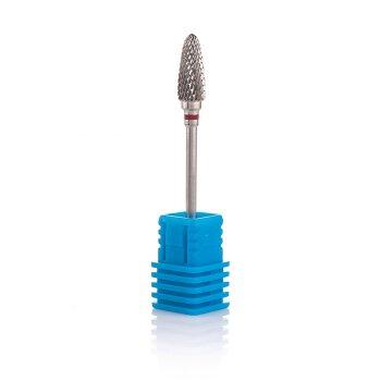 Фреза твердосплавна Nail Drill для зняття гель-лаку (Конус, напівсферичний кінець), 274 140 060 (червона насічка).