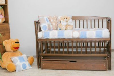 Дитяче ліжко-колиска Еліт Дубок, шухляда+відкидна боковинка, горіх