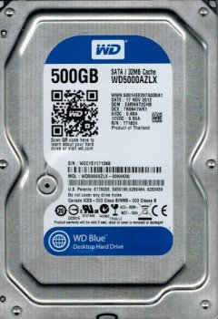 Жорсткий диск (HDD) Western Digital 500Gb 7200rpm 32Mb SATAIII WD5000AZLX (WD5000AZLX)