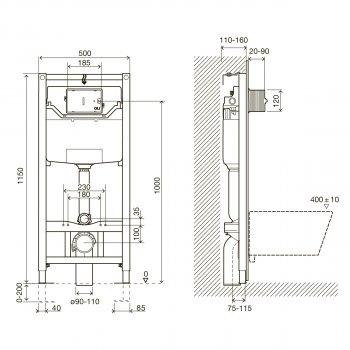 Інсталяція IMPRESE i8120 з панеллю змиву PAN хром + унітаз LAUFEN Pro Rimless H8619570000001 із сидінням Soft Close дюропласт