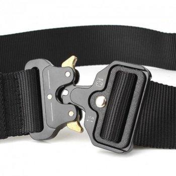 """Тактичний нейлоновий армійський ремінь Tactical Belt з пряжкою """"COBRA"""" / 125 см / Black"""