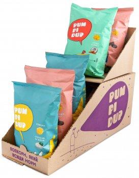 Упаковка попкорну Pumpidup 3 смаки (шоколадне печиво, кокос + кориця, сметана зелень) 90 г х 7 шт. (4820223990119)