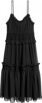 Платье H&M 5165535 Черное/Горошек