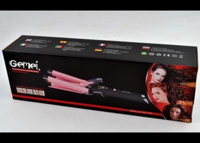 Плойка Gemei GM-1956 потрійна для волосся 65 Вт з регулюванням температури Рожева (11284)