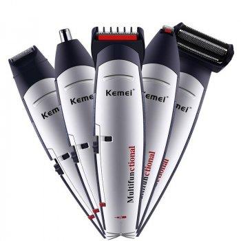 Тример стайлер для стрижки волосся і бороди професійний акумуляторний бездротовий Kemei KM-560 5 в 1 Сріблястий