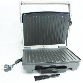 Гриль прижимний з терморегулятором електричний Crownberg (CB-1067) Сріблясто-чорний
