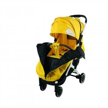 Коляска Yoya Plus-4-2021 2в1 на молнии Желтая с люлькой черной на белой раме