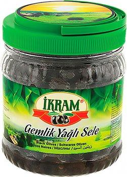 Оливки темные Ikram Premium с косточкой слабосоленые 700 г (8696591010508)