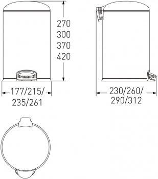 Відро для сміття з педаллю VOLLE 14-12-53ST 12 л матова сталь