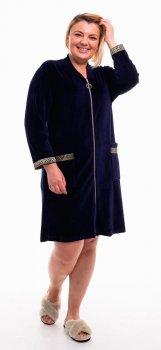 Халат женский Bonita ТМ Бонита, велюровый, темно-синий (Н053)