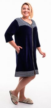 Халат женский Bonita ТМ Бонита, велюровый, темно-синий с черно-белым (Н058)