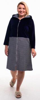 Халат женский Bonita ТМ Бонита, велюровый, темно-синий с черно-белым (Н061)