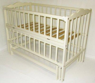 Дитяче ліжко-колиска АНАСТАСІЯ Кузя, відкидна боковинка, слонова кість